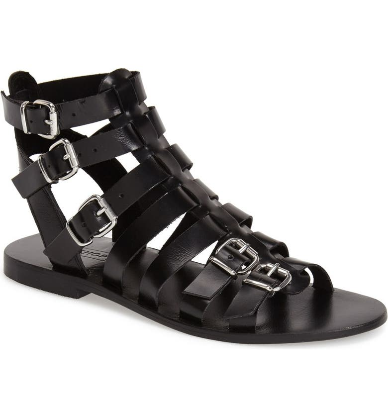 TOPSHOP 'Favorite' Flat Gladiator Sandal, Main, color, 001