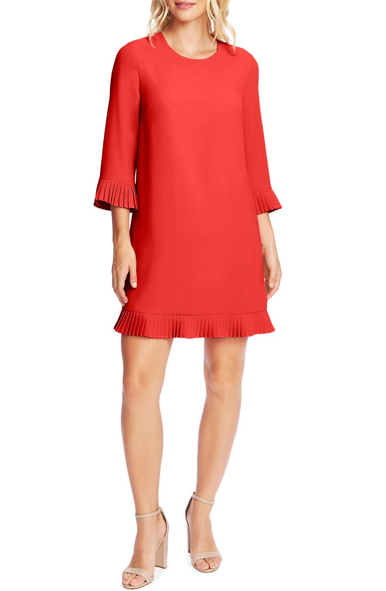 CECE Pleat Detail Moss Crepe Shift Dress, Main, color, SPICED RED