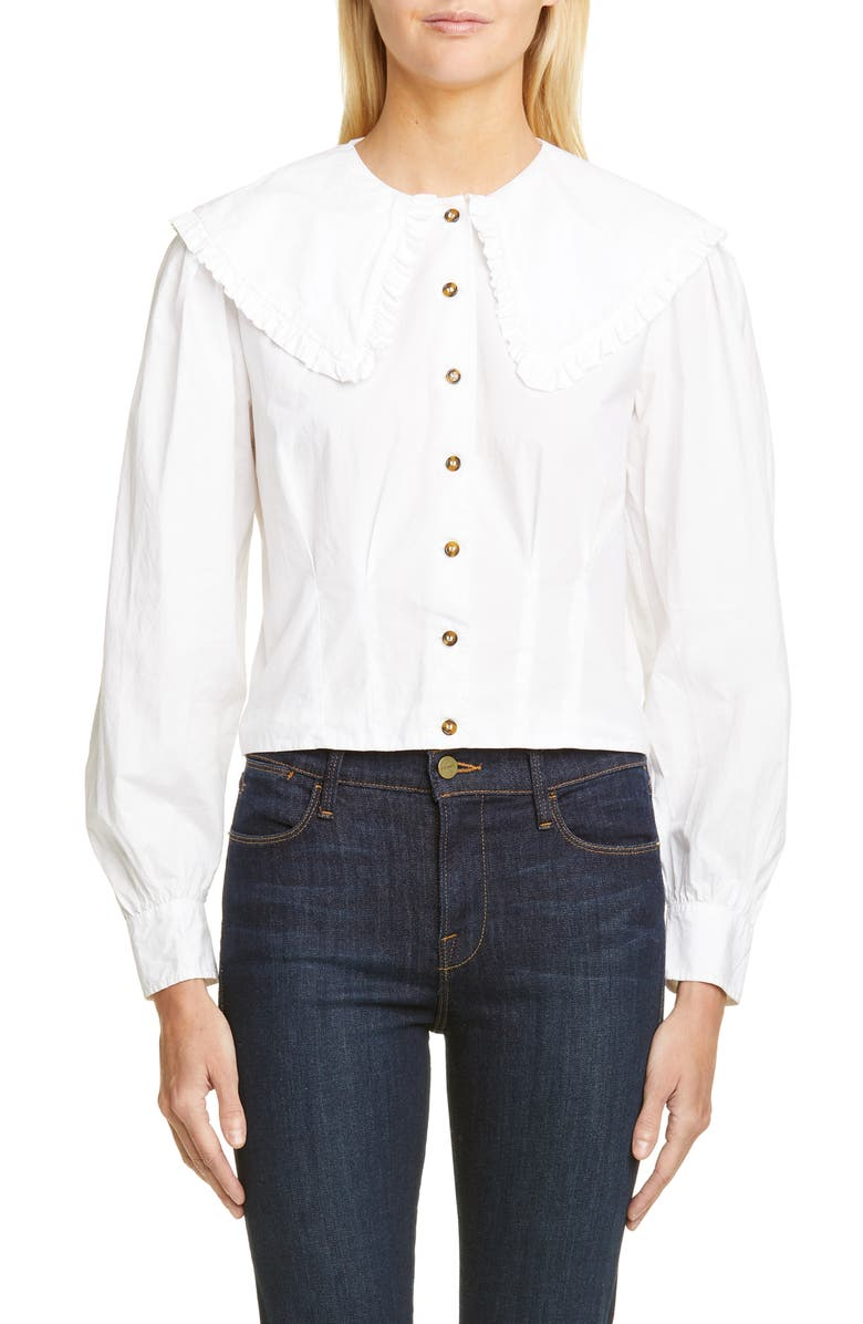 GANNI Statement Collar Poplin Shirt, Main, color, BRIGHT WHITE