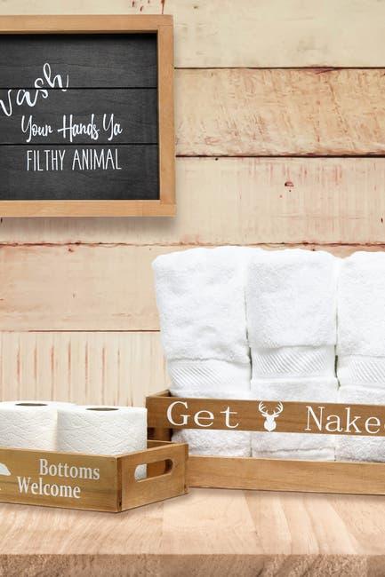 Image of LALIA HOME Elegant Designs Three Piece Decorative Wood Bathroom Set - Small - Cabin/Lodge/Rustic