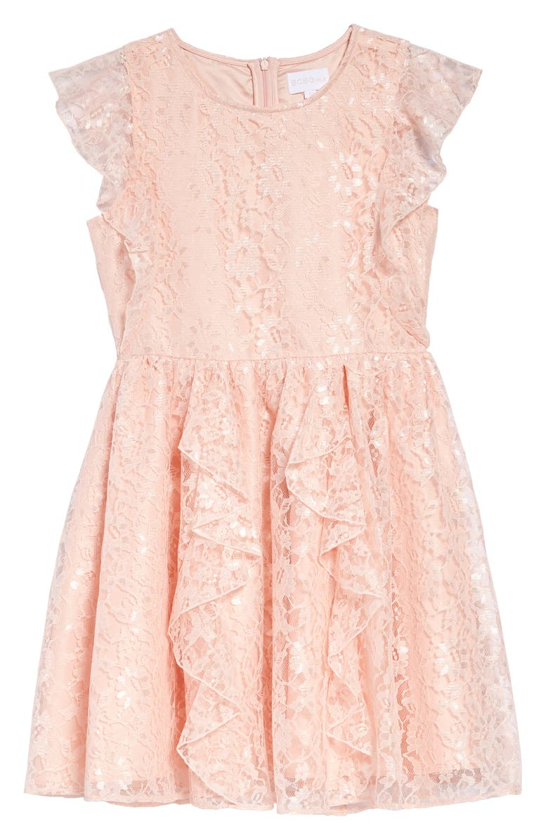 BCBG GIRLS BCBG Ruffle Lace Dress, Main, color, ROSE