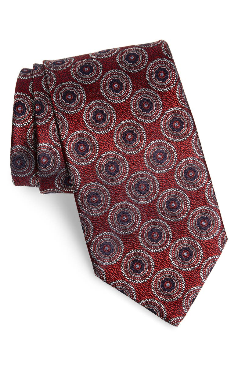 ERMENEGILDO ZEGNA Medallion Silk X-Long Tie, Main, color, RED
