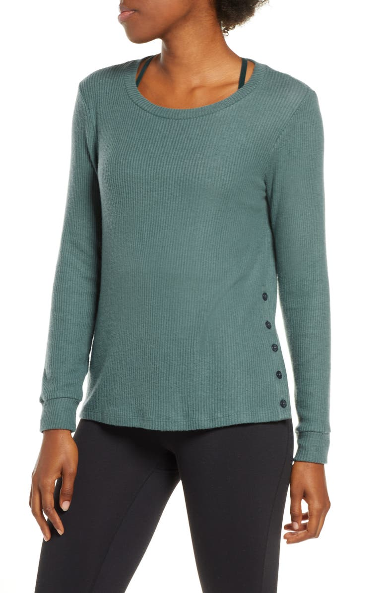 BEYOND YOGA Your Line Pullover, Main, color, WILD SAGE HEATHER