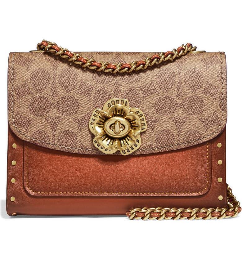 COACH Parker 18 Leather & Signature Canvas Shoulder Bag, Main, color, RUST