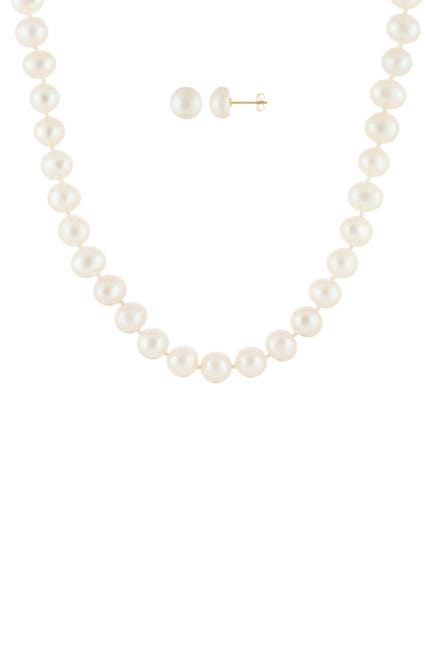 Image of Splendid Pearls 5-5.5mm 14K Gold White Freshwater Pearl Earrings & Necklace Set