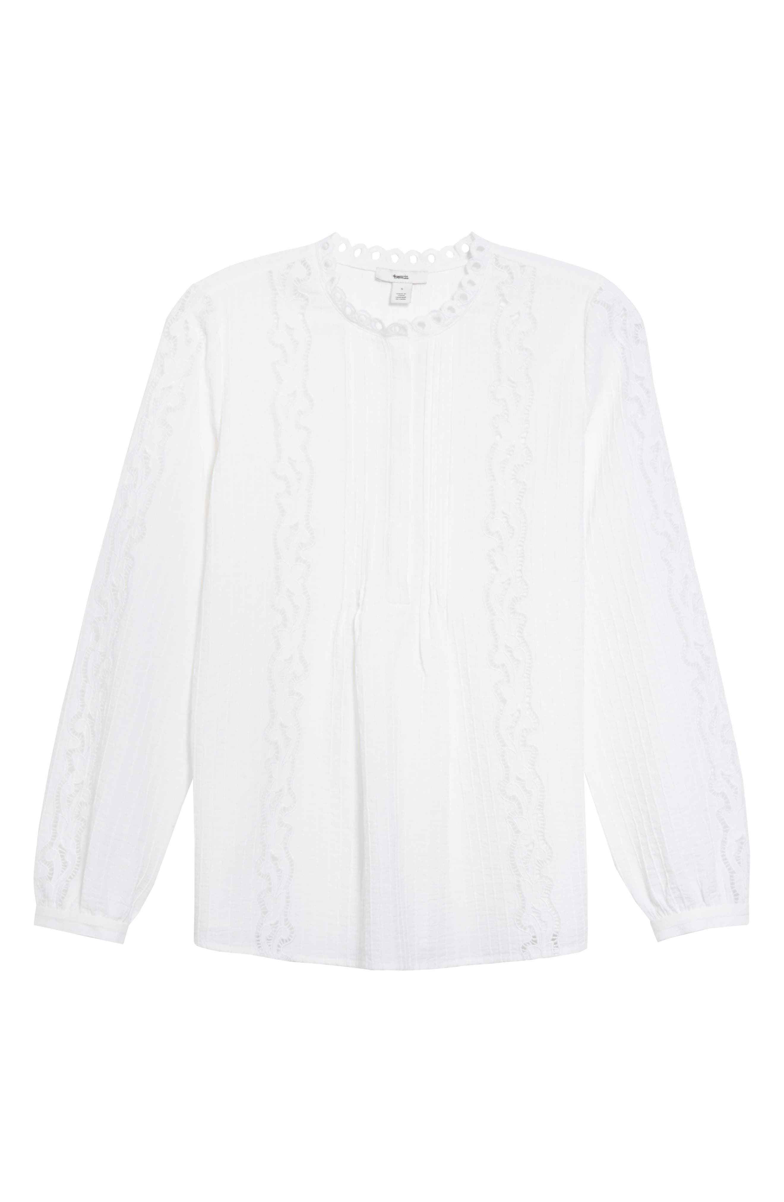 ,                             Embroidered Pleated Blouse,                             Alternate thumbnail 6, color,                             WHITE