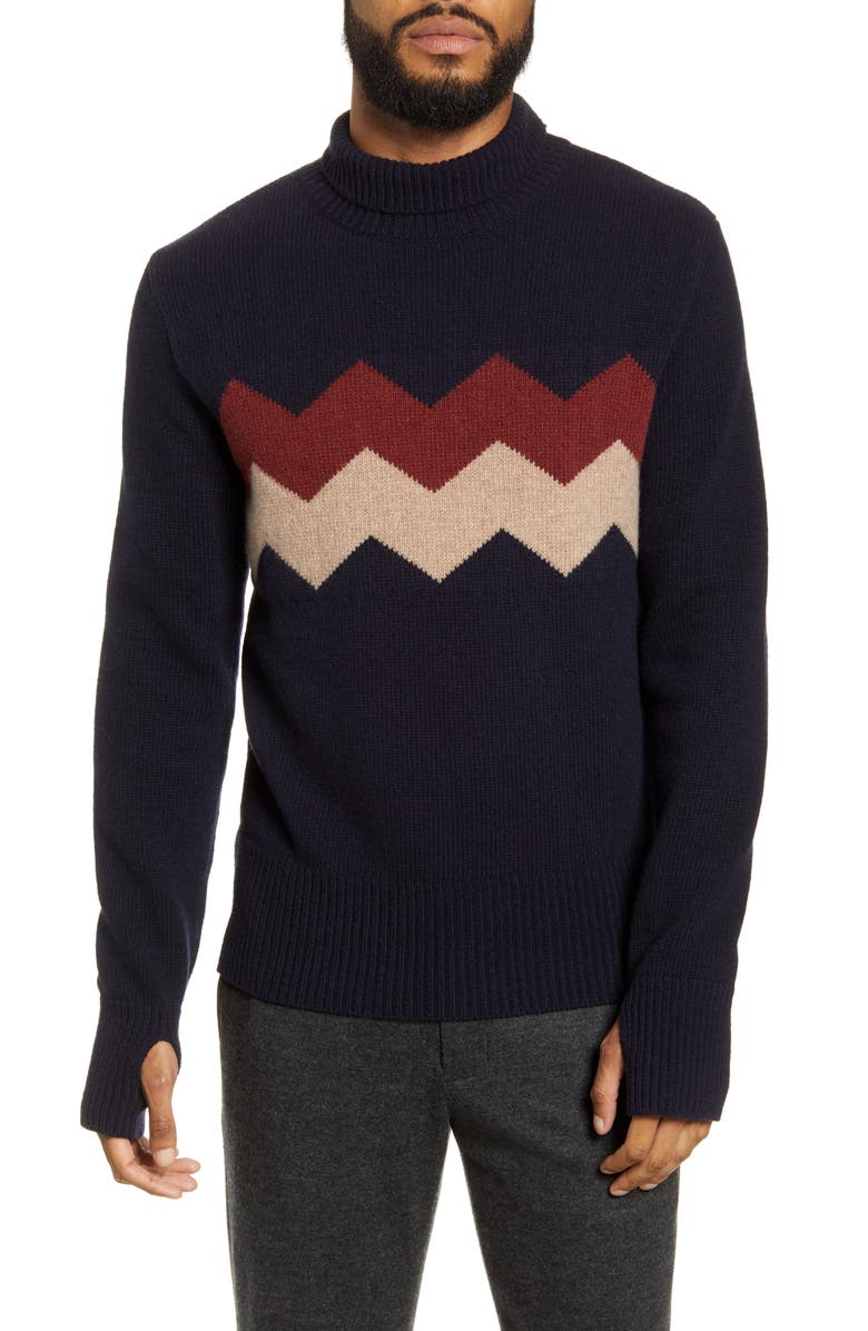 OLIVER SPENCER Talbot Wool Turtleneck Sweater, Main, color, HANLEY NAVY