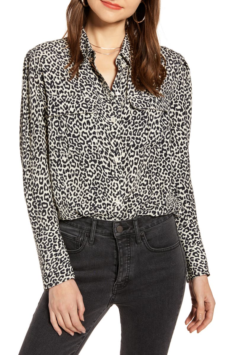 SOMETHING NAVY Utility Blouse, Main, color, IVORY BIRCH LEOPARD