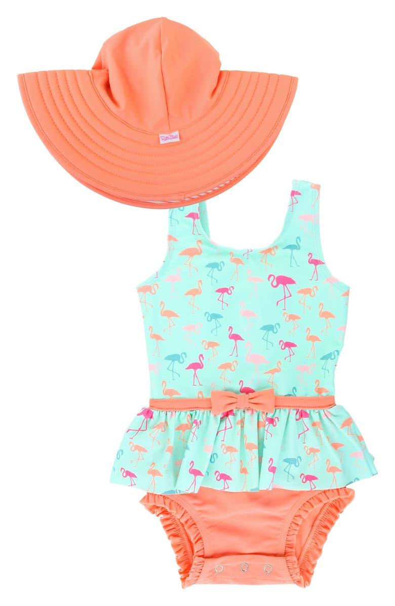 RUFFLEBUTTS Flamingo Beach One-Piece Swimsuit & Floppy Hat Set, Main, color, GREEN