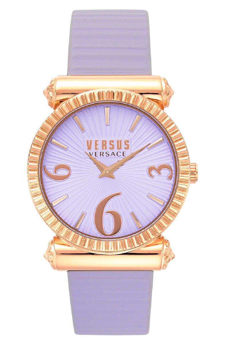 VERSUS VERSACE Republique Leather Strap Watch, 38mm, Main, color, PURPLE/ ROSE GOLD