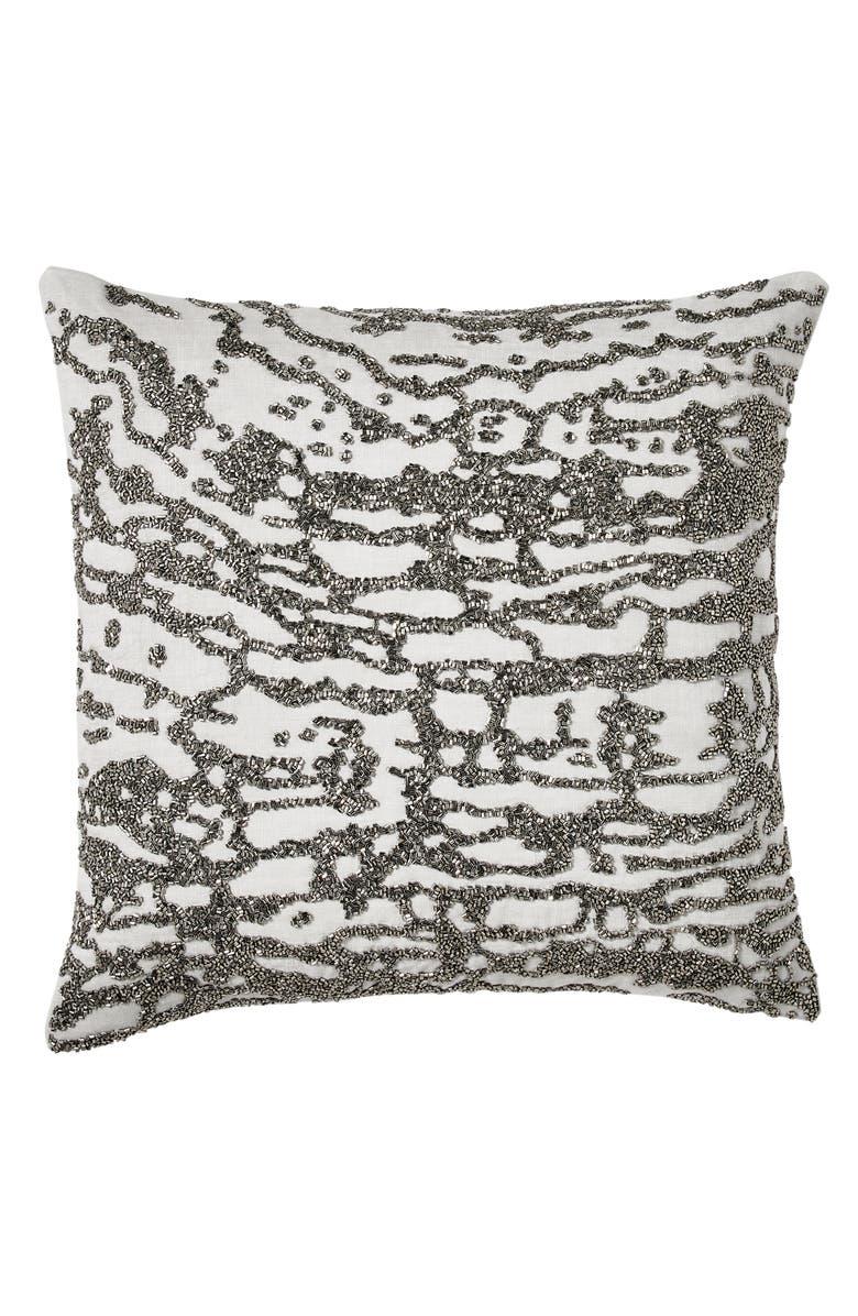 DONNA KARAN NEW YORK Luna Beaded Accent Pillow, Main, color, PLATINUM