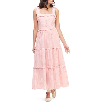 Gal Meets Glam Collection Courtney Rio Stripe Lawn Maxi Dress, Pink