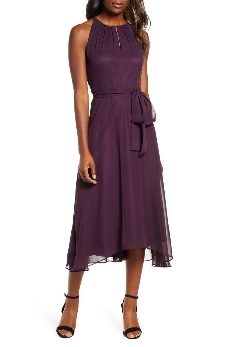 TAHARI Sleeveless Chiffon Fit & Flare Dress, Main, color, 931