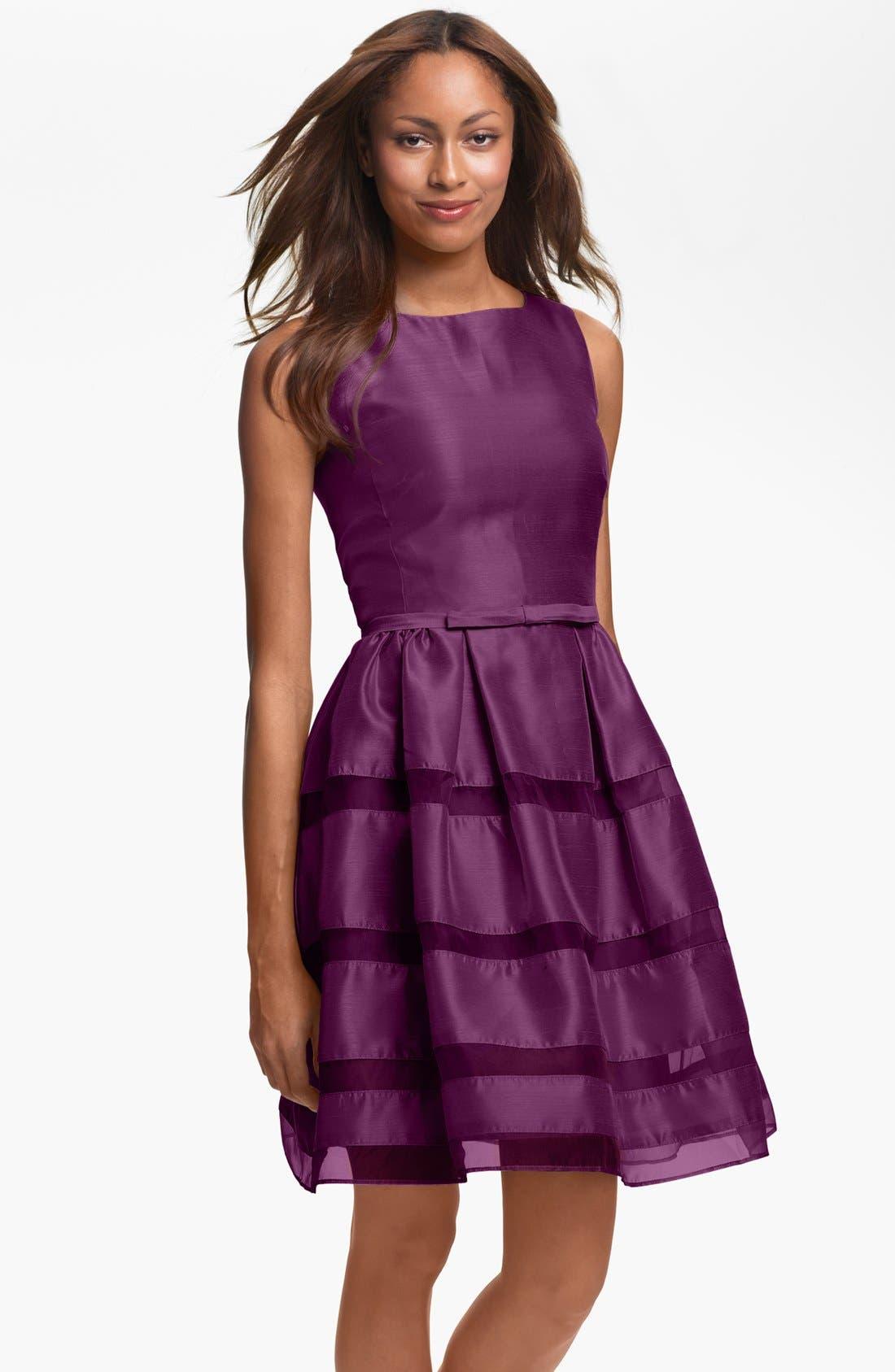 ,                             Tonal Stripe Fit & Flare Dress,                             Main thumbnail 14, color,                             930