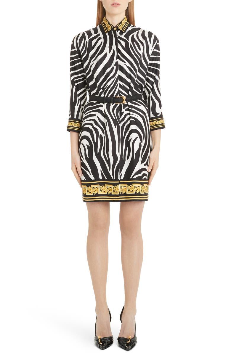 VERSACE Contrast Trim Zebra Print Belted Silk Shirtdress, Main, color, ZEBRA