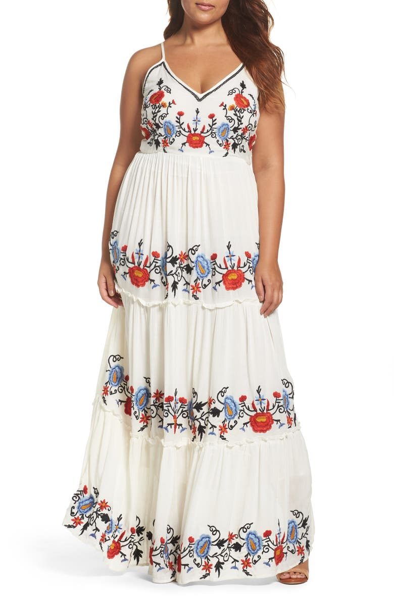 GLAMOROUS Embroidered Tiered Gauze Maxi Dress, Main, color, 100