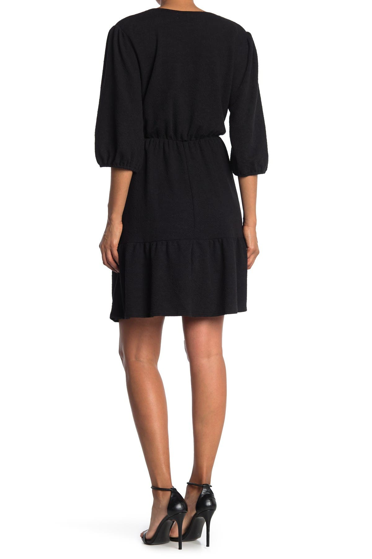 Image of MELLODAY Faux Wrap Tiered Hem Mini Dress