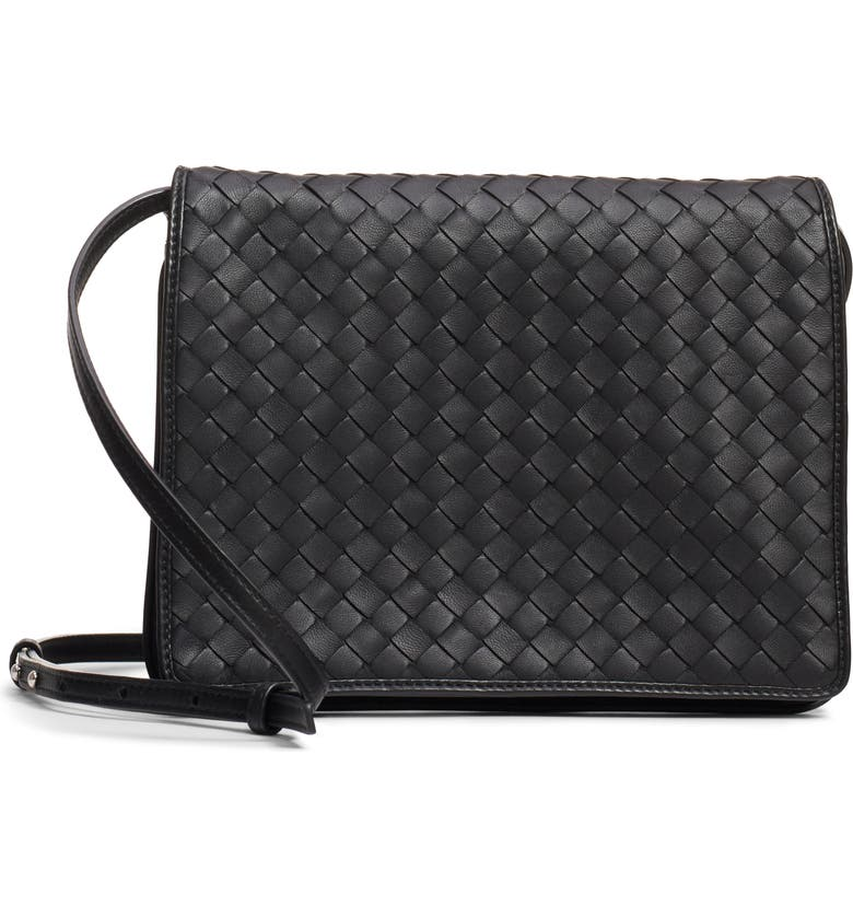 BOTTEGA VENETA Intrecciato Leather Crossbody Flap Bag, Main, color, NERO/ NERO/ SILVER
