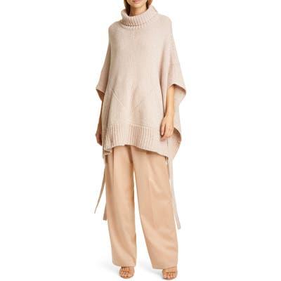 Sies Marjan Marta Side Tie Cashmere & Merino Wool Sweater Poncho, Beige