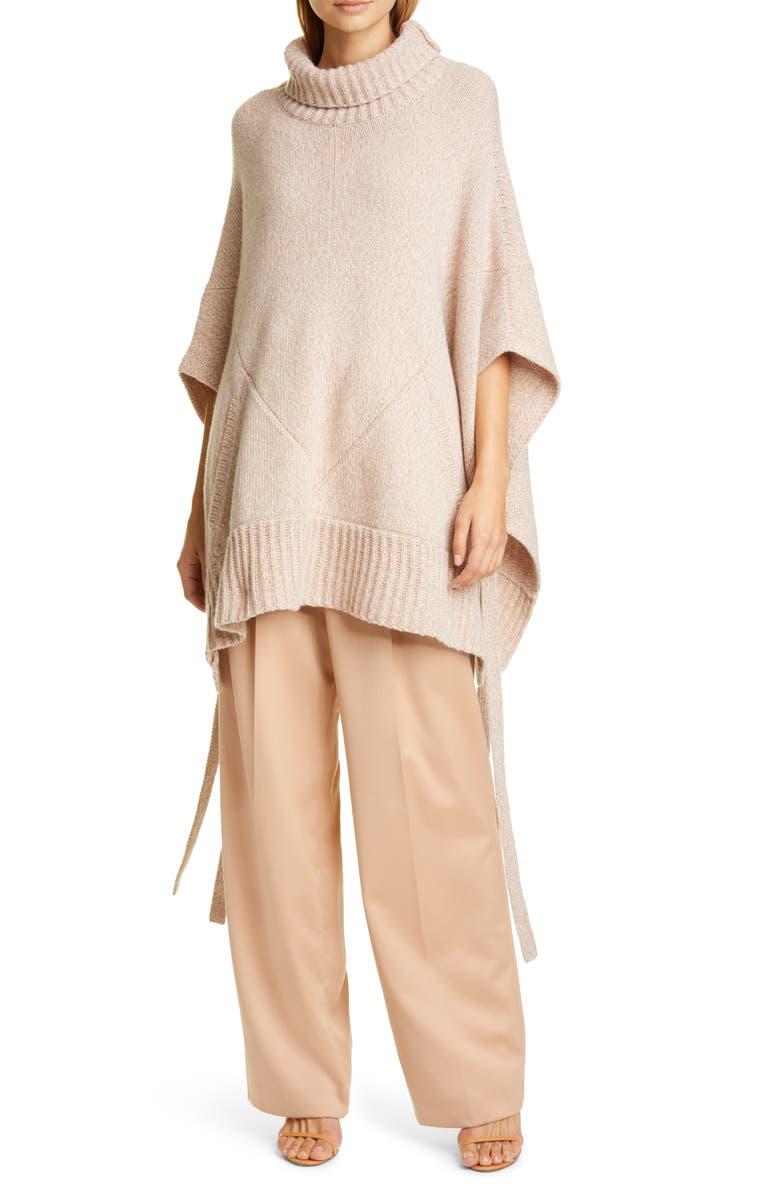 SIES MARJAN Marta Side Tie Cashmere & Merino Wool Sweater Poncho, Main, color, PINK/ CAMEL