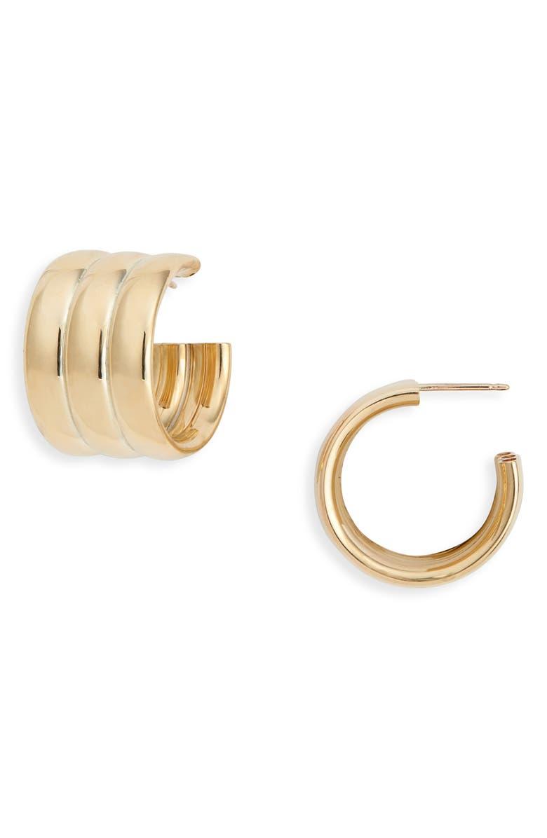 LAURA LOMBARDI Mini Grazia Hoop Earrings, Main, color, BRASS