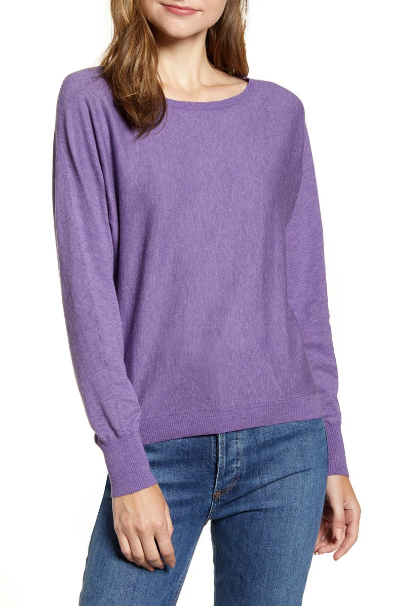 VELVET BY GRAHAM & SPENCER Lux Cotton Sweater, Main, color, LILAC