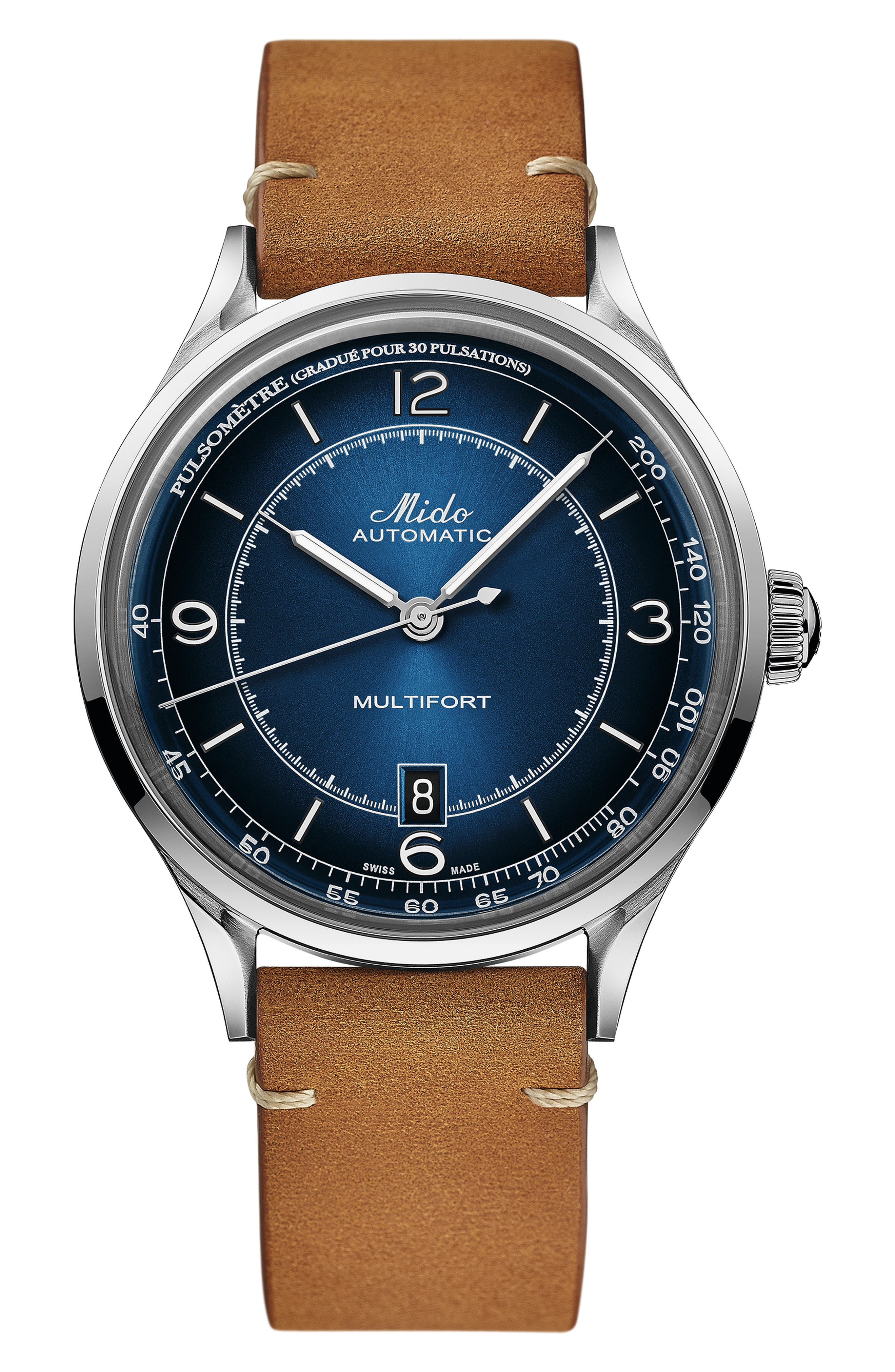 Multifort Pulsemeter Automatic Leather Strap Watch