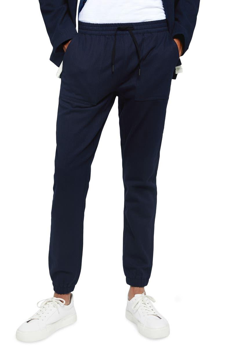 TOPMAN Herringbone Skinny Fit Jogger Pants, Main, color, NAVY BLUE