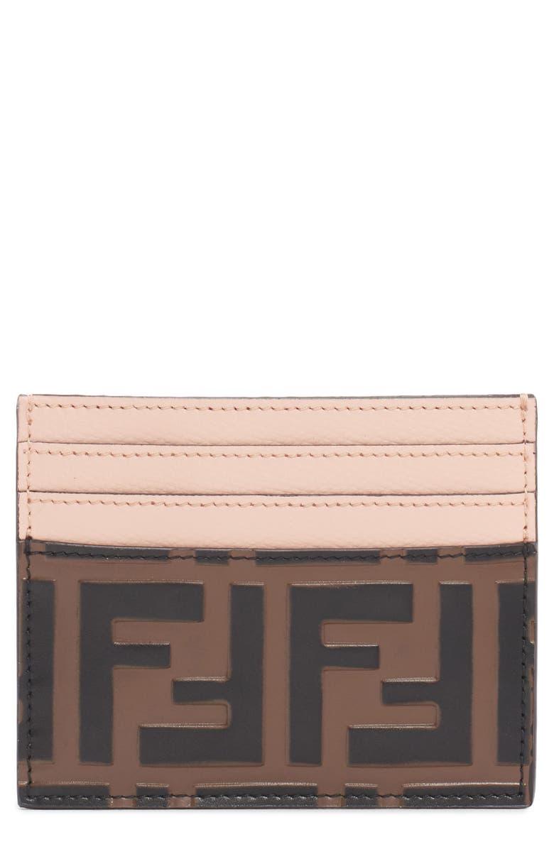 FENDI Logo Leather Card Case, Main, color, 005