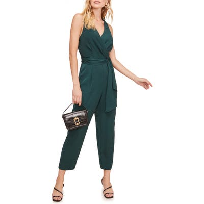 Astr The Label Side Tie Jumpsuit, Green