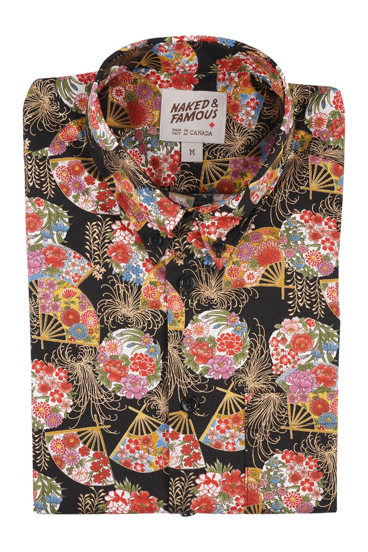 Image of Naked and Famous Golden Floral Fans Short Sleeve Shirt