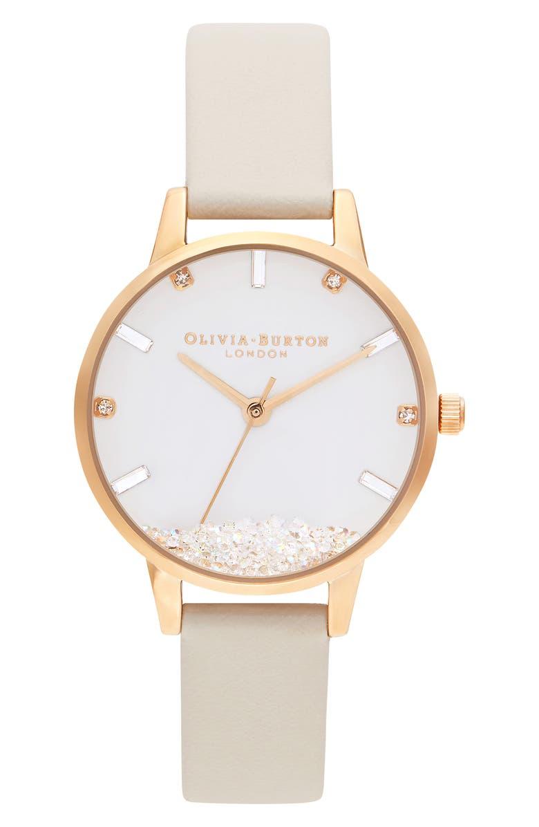 OLIVIA BURTON Oliva Burton Wishing Faux Leather Strap Watch, 30mm, Main, color, BEIGE/ WHITE/ GOLD