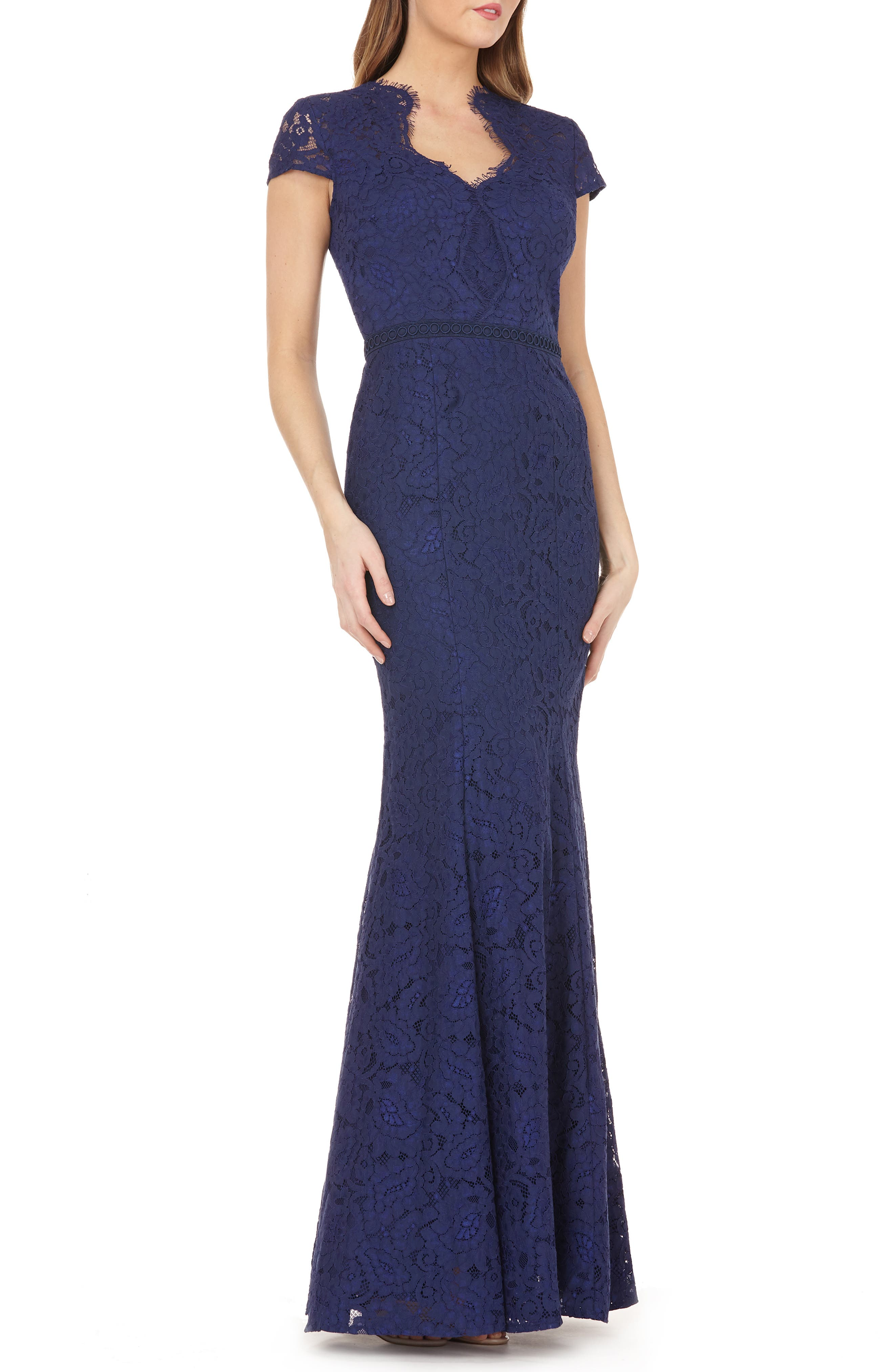 Lace Mermaid Gown, Main, color, NAVY