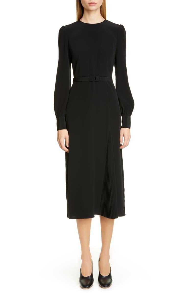 CO Essentials Pleated Panel Midi Dress, Main, color, BLACK