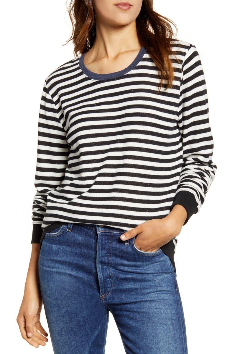 LUCKY BRAND Stripe Crew Pullover, Main, color, BLACK MULTI