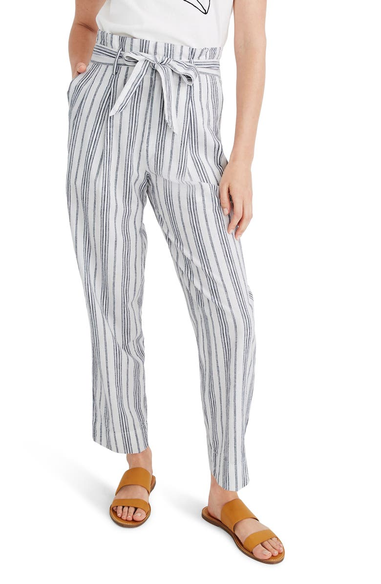 MADEWELL Baltic Stripe Paperbag Waist Pants, Main, color, SLUB STRIPE DARK BALTIC