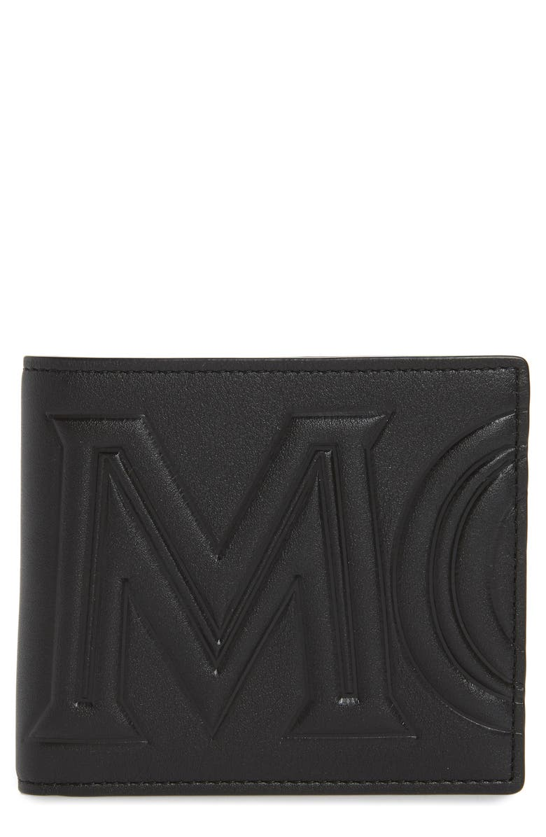 MCM Logo Leather Bifold Wallet, Main, color, 001