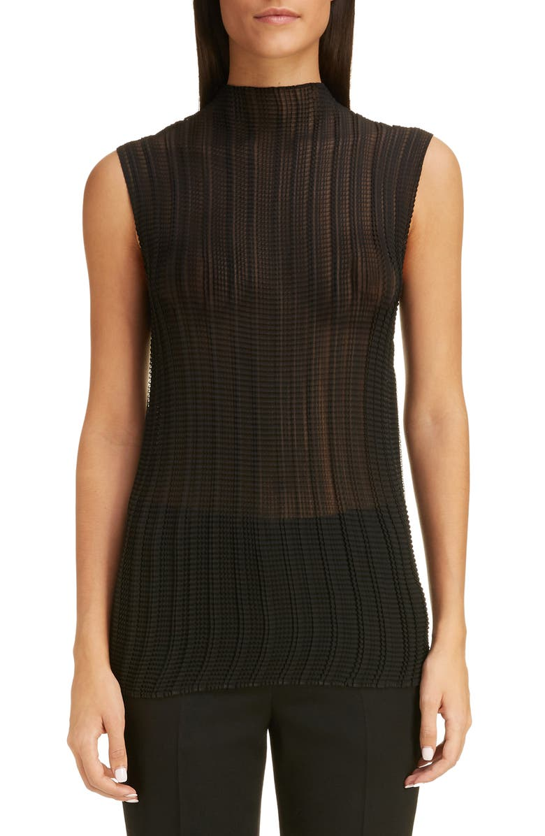 GIVENCHY Pleated Crinkle Georgette Sleeveless Blouse, Main, color, BLACK