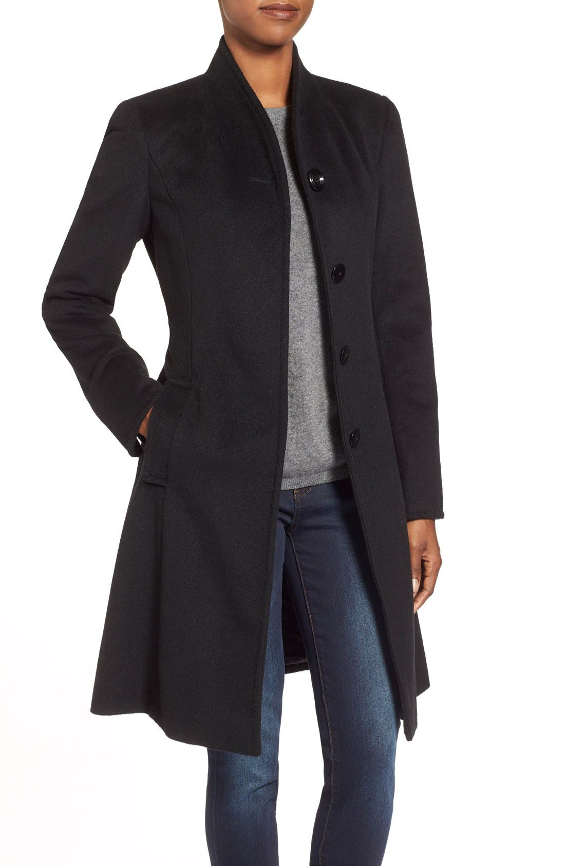 ,                             Belted Wool Blend Stand CollarCoat,                             Alternate thumbnail 10, color,                             001