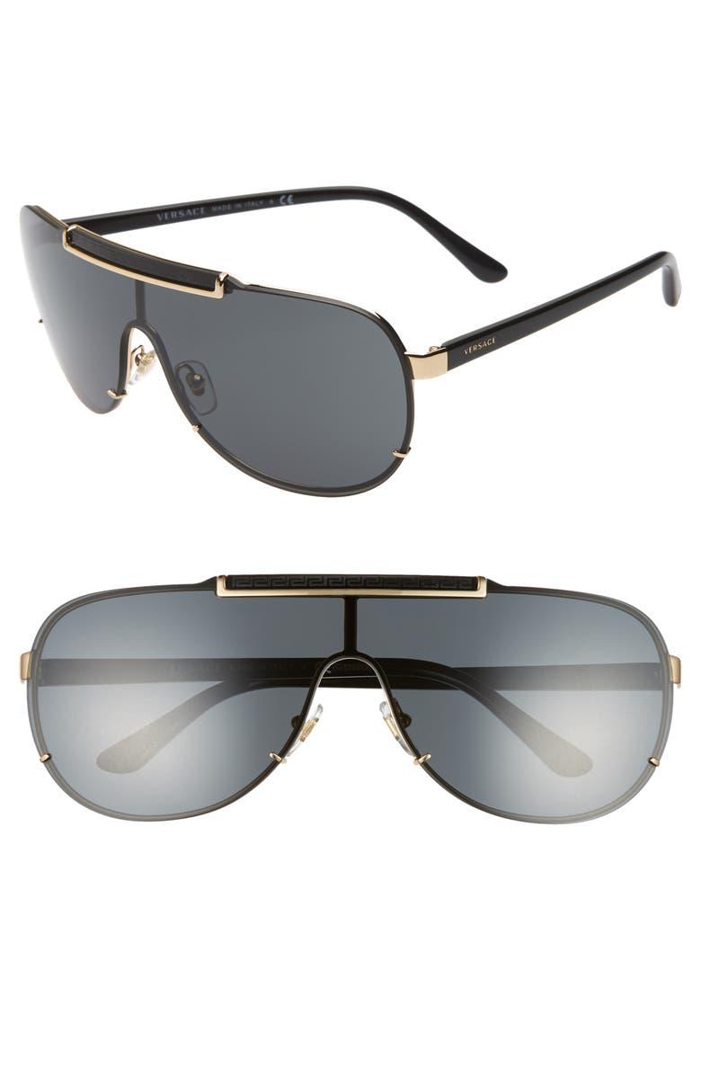 VERSACE 40mm Shield Sunglasses, Main, color, BLACK/ GOLD/ BLACK SOLID
