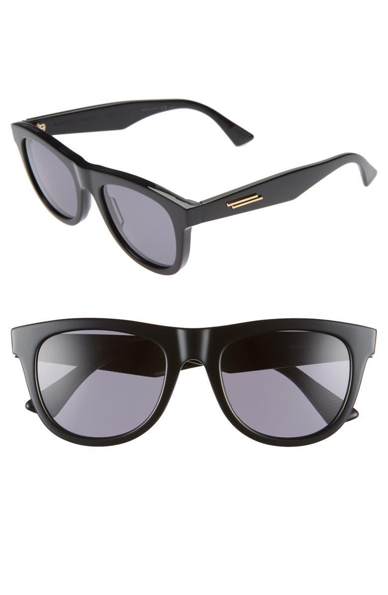 BOTTEGA VENETA 52mm Rectangular Sunglasses, Main, color, BLACK/ GREY