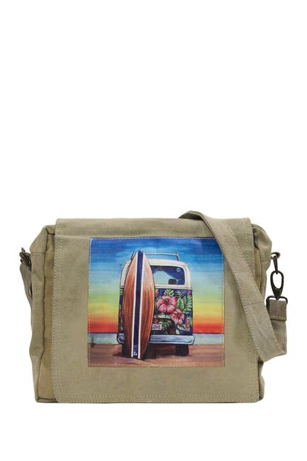 Image of Vintage Addiction Beach Bus Recycled Military Tent Crossbody Bag