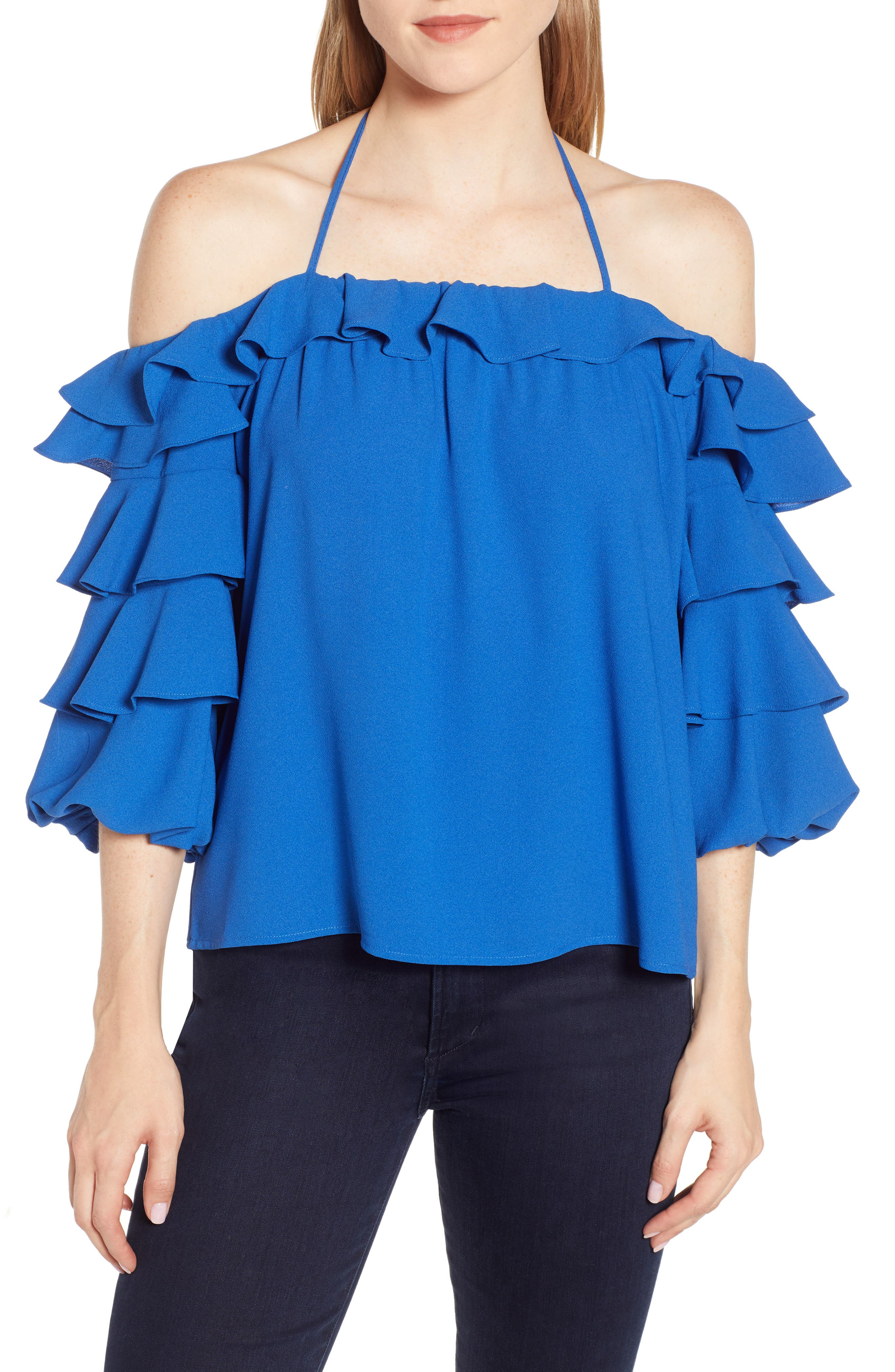 Tiered Ruffle Sleeve Blouse, Main, color, ZEN BLUE