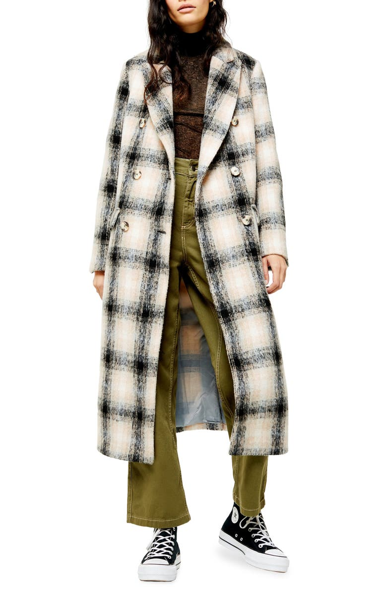 TOPSHOP Toni Check Coat, Main, color, GREY MULTI