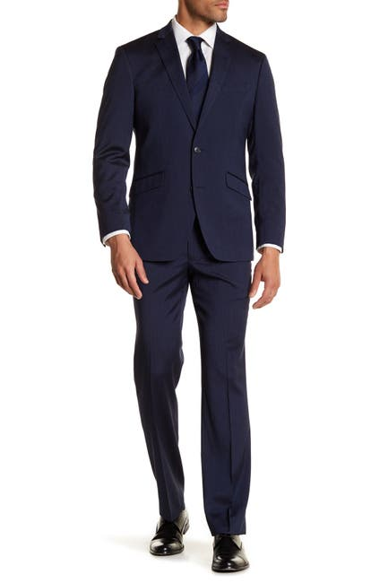 Image of Kenneth Cole Reaction Navy Blue Solid Two Button Performance Slim Fit Suit