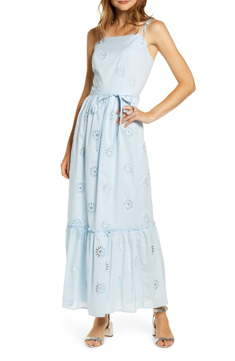 RACHEL PARCELL Eyelet Maxi Sundress, Main, color, 450