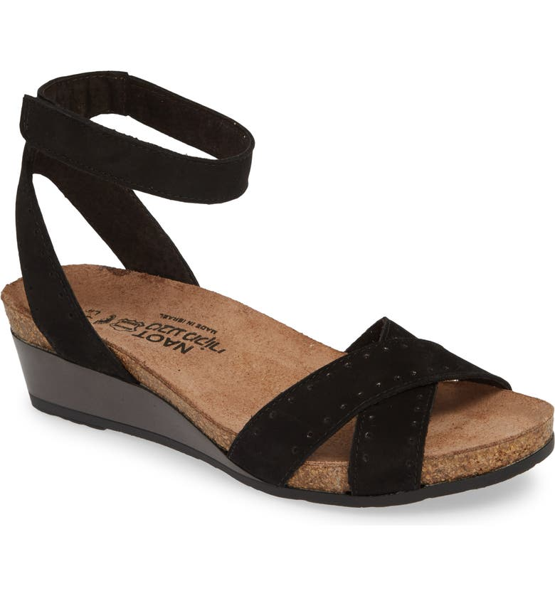 NAOT Wand Wedge Sandal, Main, color, BLACK