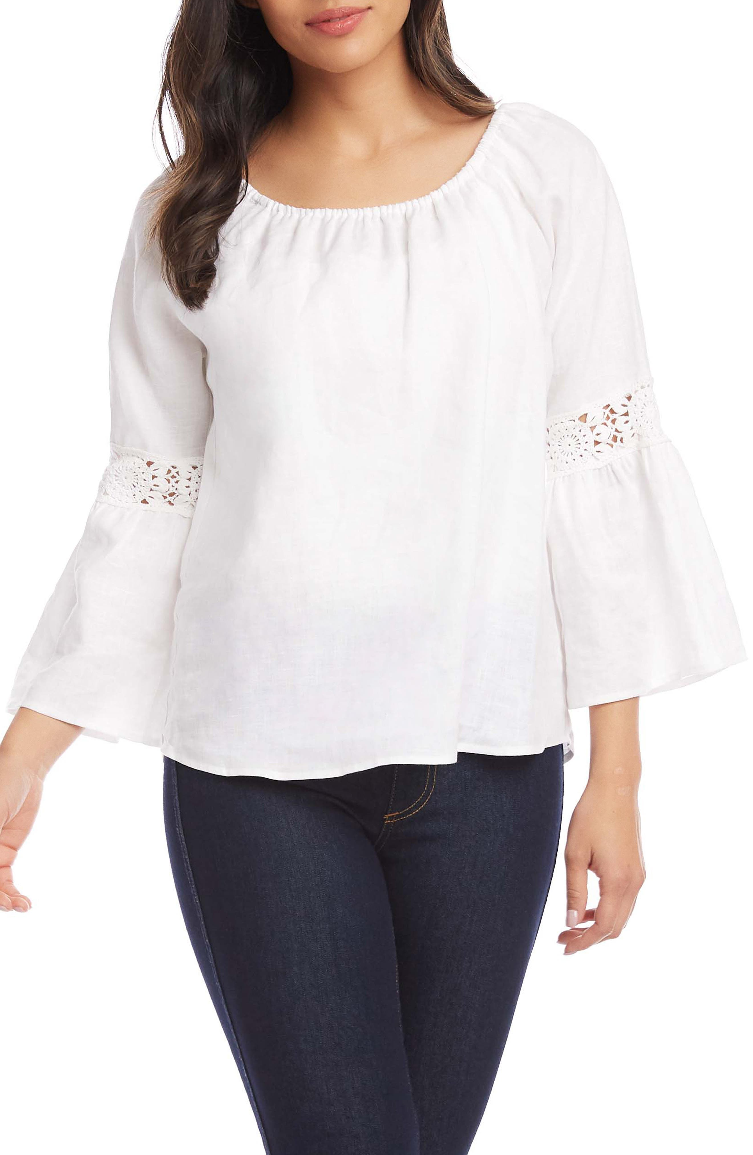Bell Sleeve Lace Inset Linen Top