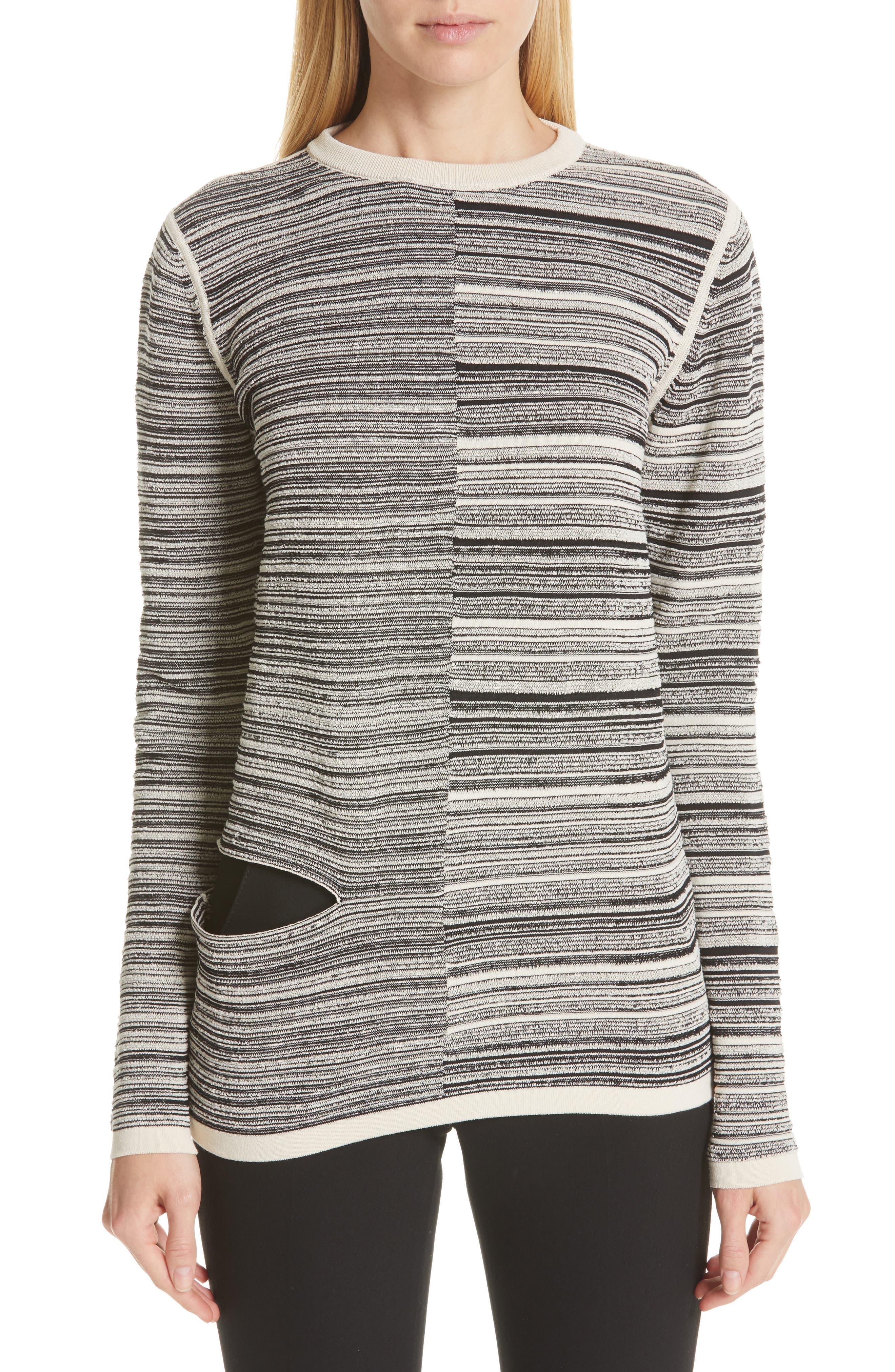 ,                             Split Stripe Shred Detail Cotton Blend Sweater,                             Main thumbnail 1, color,                             BLACK NATURAL