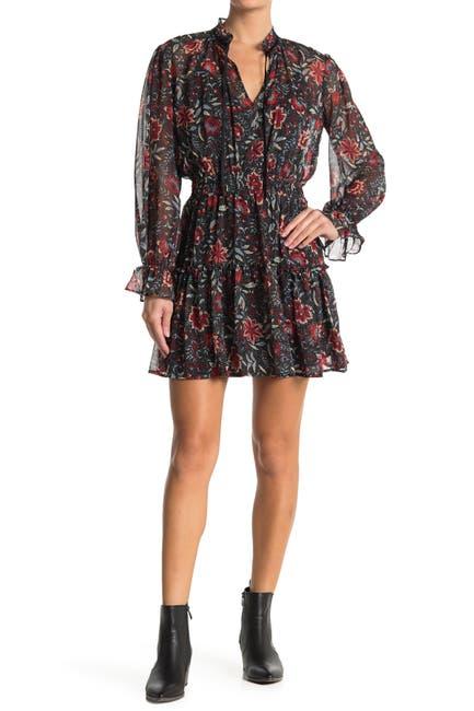 Image of Love Stitch Floral Ruffle Split Neck Mini Dress